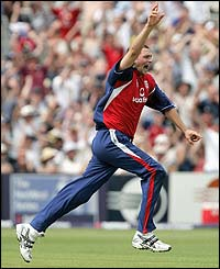 The Durham paceman celebrates claiming three wickets in four balls