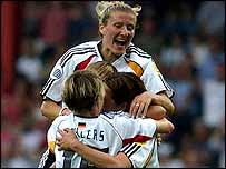 Germany celebrate after Renate Lingors puts them 2-0 up against Norway in the Euro 2005 final