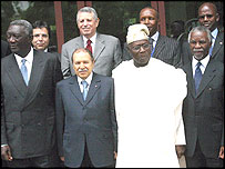 In front row, Ghanaian President John Kufuor, Algerian President Abdelaziz Bouteflika, Nigerian President Olusegun Obasanjo, South African President Thabo Mbeki