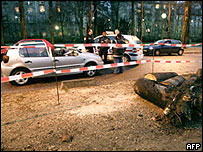 Crushed car of a woman killed by a falling tree in Paris
