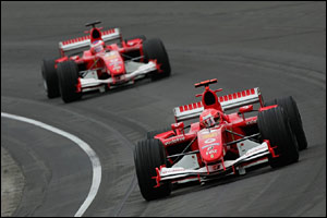 Schumacher leads Rubens Barrichello around a corner