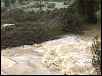 The swollen river in Sutton-Under-Whitestonecliffe