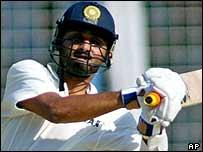 Harbhajan Singh hits a boundary