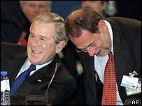 George W Bush and EU foreign policy chief Javier Solana at Nato summit in February