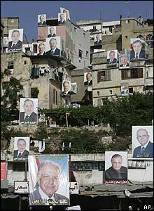 Election posters on rooftops in Tripoli, Lebanon