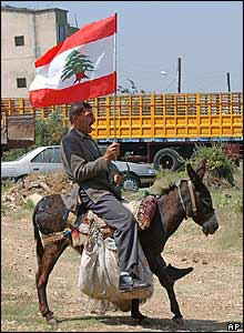 A voter carries a Lebanese flag as rides his donkey to the polling booth in Berqayel
