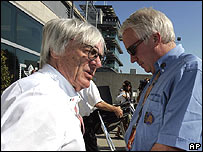 F1 boss Bernie Ecclestone and race director Charlie Whiting discuss the looming catastrophe at the US Grand Prix