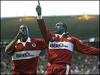 Jimmy Floyd Hasselbaink (right) got the first for Boro