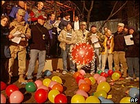 US soldiers stage a party in Afghanistan