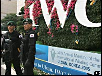 Armed South Korean Swat members stand guard at IWC meeting (AP)