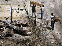 Scene of attack on Baghdad police station 20 June 2005