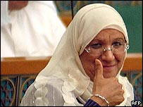 Massouma al-Mubarak during her first parliamentary session with other cabinet members