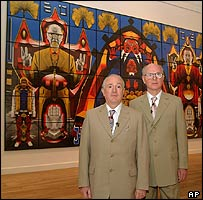 UK artists Gilbert and George with self images