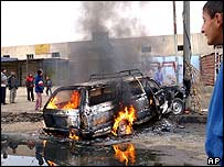 Scene of the attack on the election workers in Baghdad
