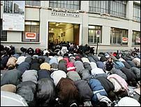 Muslims praying in France