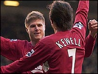 Neil Mellor celebrates his goal with Harry Kewell