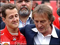 Ferrari boss Luca di Montezemolo with world champion Michael Schumacher