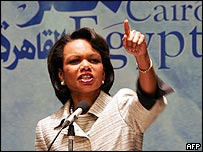 US Secretary of State Condoleezza Rice takes a question from the audience after her speech in Cairo