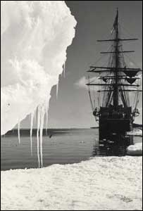 Photograph of an expedition ship by Herbert Ponting