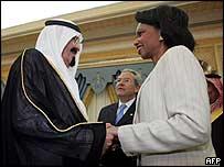 Crown Prince Abdullah greets Condoleezza Rice in Saudi Arabia