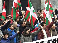 Basque independence supporters at rally in December