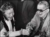 Jean-Paul Sartre, right, with his partner Simone de Beauvoir