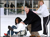 Ade Adepitan, Mayor of London Ken Livingstone and Olympic Ice Dance champion Jayne Torvill