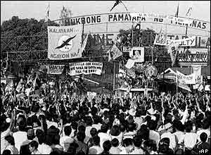 "Crowds gather in Manila as part of ""People Power"" revolt, February 24, 1986"