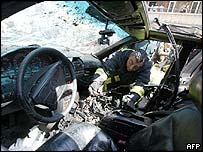 Inside of George Hawi's car after the blast
