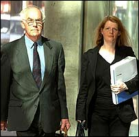Prof Meadow arrives at his GMC hearing with a member of his legal team