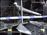 A blaze destroyed a large carpet shop in Londonderry