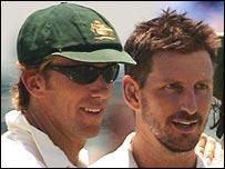 Australian fats bowlers Glenn McGrath and Michael Kaprowicz