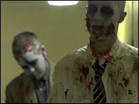 Rob Winder plays a background zombie in scene from the film