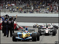 The Michelin teams pull into the pits at the start of the US Grand Prix