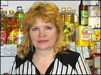 Tatiana Loginova in her convenience store