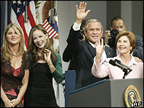 President George W Bush and his family celebrate his re-election