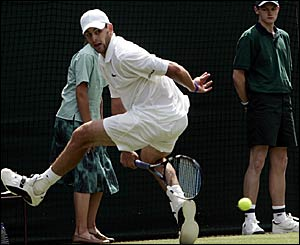 Number two seed Andy Roddick in first round action