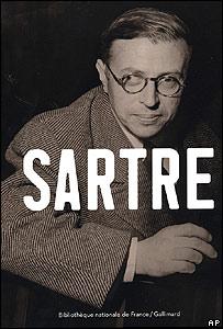 Afiche de Sartre para promocionar la muestra en la Bibllioteca Nacional de Francia.