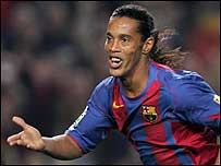 Ronaldinho celebrates for Barcelona