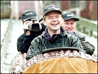William Hague at a theme park early in his Tory leadership