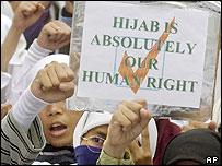 Muslim women wearing hijabs
