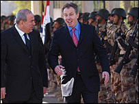 Iyad Allawi welcoming Tony Blair on arrival in Baghdad