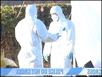 Forensic officers are at the scene near Milwr