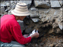 Winifred Creamer digging at an archaeological site in the Norte Chico, NIU