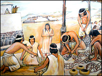 Sketch of ancient Norte Chico people, NIU