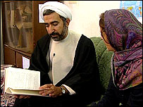 Cleric Hojatulislam Kariminia with Frances Harrison