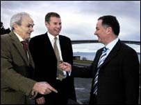 Liberal Democrats MSPs John Farquhar Munro and Nicol Stephen with First Minister Jack McConnell