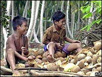 Andaman tribal boys in Hut Bay