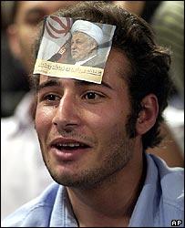 A Rafsanjani supporter at a rally at Tehran University