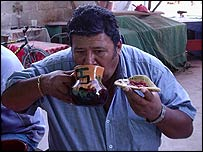 Mario Grajedo drinks pulque in Ixmiquilpan, Mexico